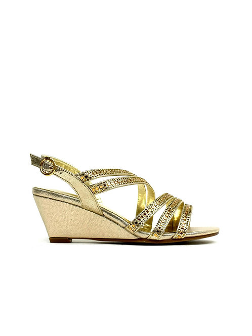 Multi-Strap Evening Wedge Gold