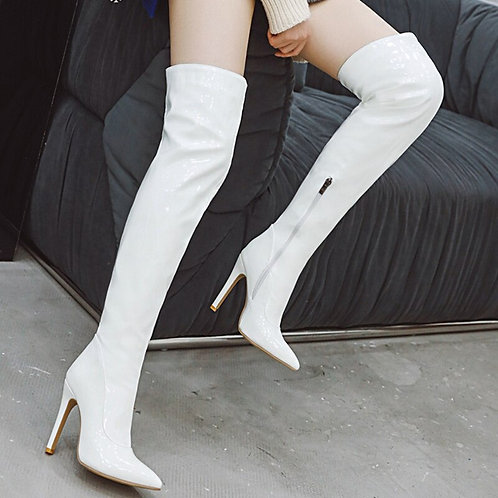 Sexy Mirror Leather Thigh High Boots Women High Heels Over