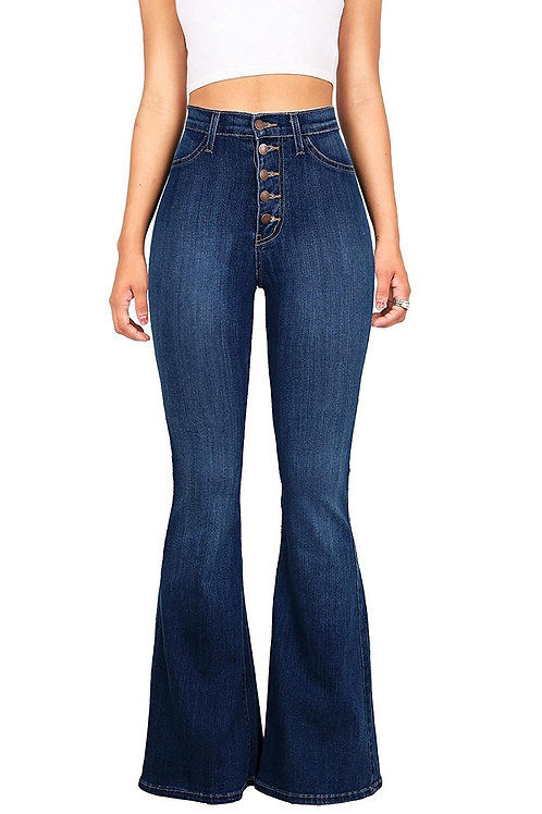 Women Blue Flare Jeans Pants Fashion Casual High Waist Skinny