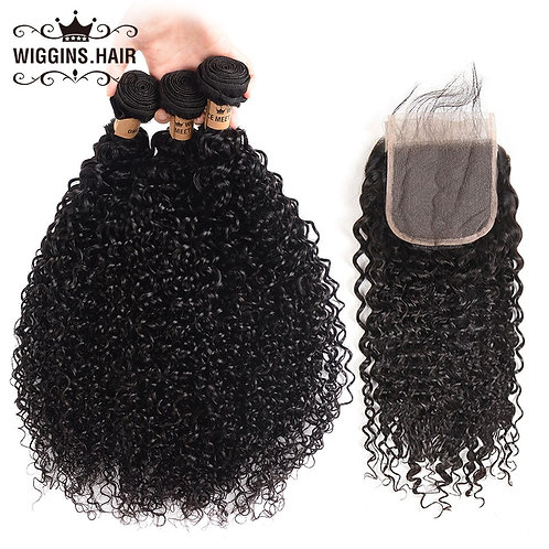 Wiggins 3 Bundles Malaysian Curly Hair 100% Human Hair Bundles