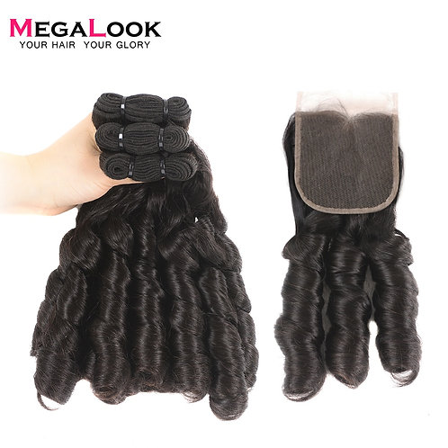 Megalook Double Drawn Nigeria Curl 100% Human Hair Bundles With Closure
