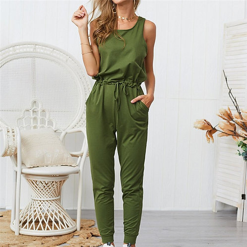Women Hole Sleeveless Bandage Lace Up Jumpsuit Casual