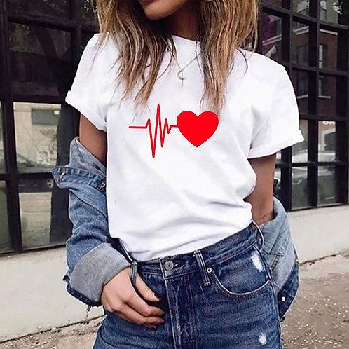 Love Heart Print Ladies T-Shirt Ladies Casual Basis O-Collar