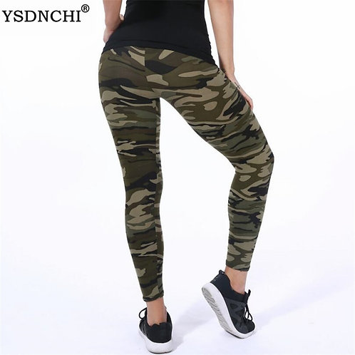 YSDNCHI Women Leggings High Elastic Skinny Camouflage Legging