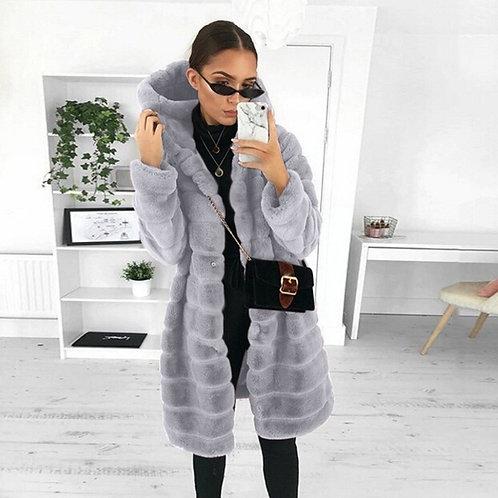 Winter Casual Solid Teddy Coat Women Long Sleeve Fleece Long