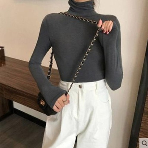 Autumn Women's Long Sleeve High Neck Bottoming Thin Fit