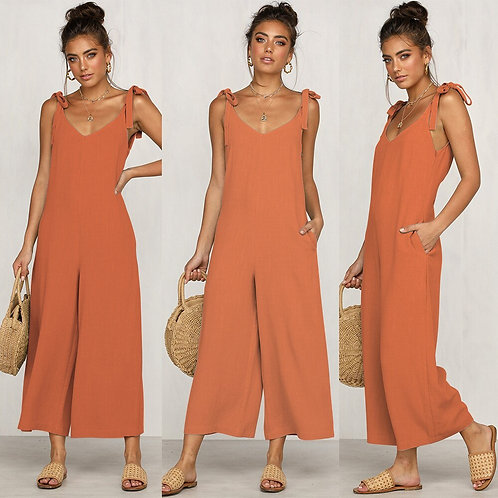 Summer Solid Jumpsuit Women Straight Ankle-Length