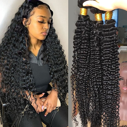 Fashow Brazilian Deep Wave Hair 1/3/4 Bundles Deep Curly Hair Weaves