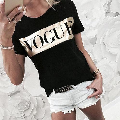 Golden Vogue Letter Print T Shirt Women Short Sleev