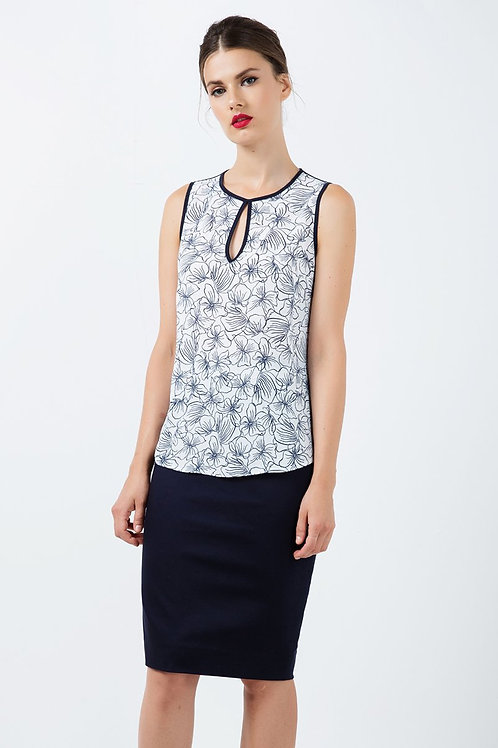 Sleeveless Floral Keyhole Top