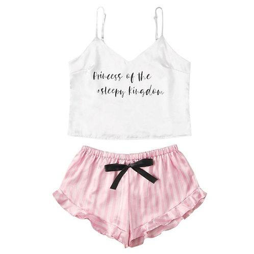 V-Neck Pyjamas Sleeveless Cute Cami Top Women Short Pijama Sleepwear