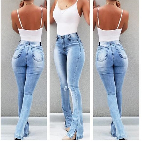 New Sexy Solid Flare Leg Wide Leg Denim Jeans Bodycon Office