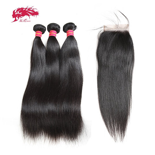 Brazilian Straight Unprocessed One Donor Hair Bundles 4x4 HD