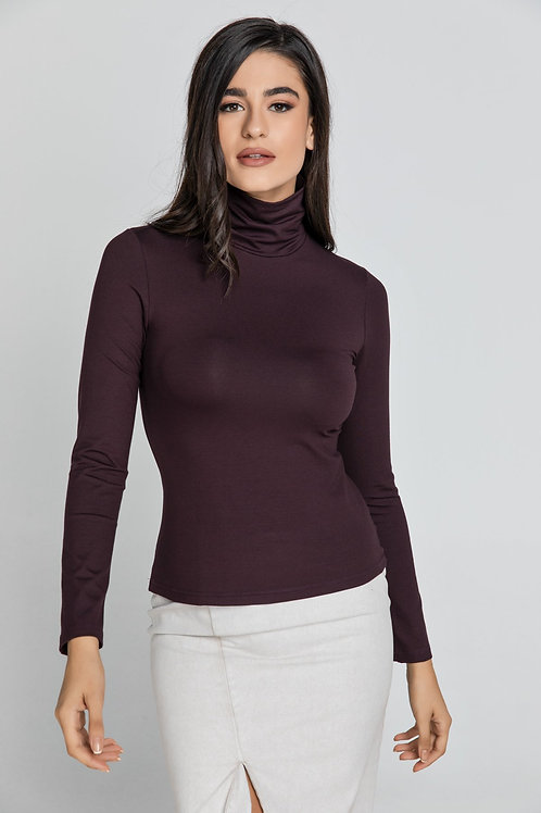 Maroon Turtle Neck Top By Conquista