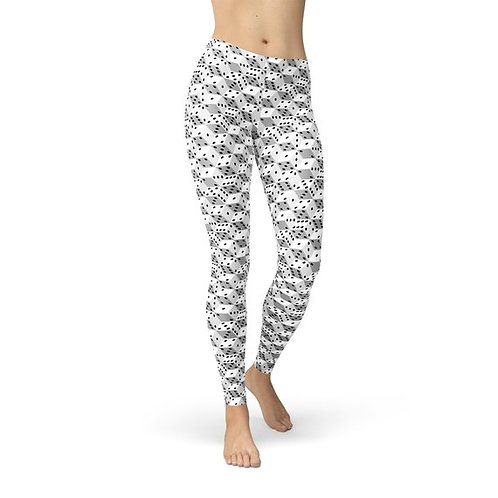 Womens Black and White Dice Leggings