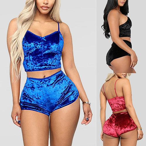 2 Piece Outfit Spaghetti Strap Sleeveless Crop Top+ Shorts Set