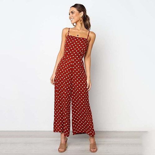 Women Sexy Sleeveless Jumpsuit Summer New Dot Backless