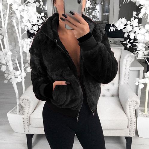 2020 Faux Fur Coat Women With Hood New Oversize Coats