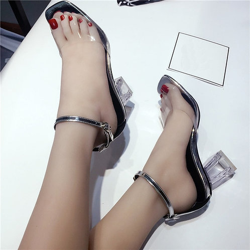 Fashion Women Transparent Sandals Ankle High Heels