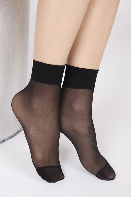 FEM sheer black socks, 2-pack