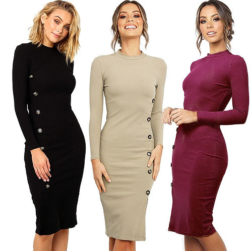 New Autumn Winter Women Knitted Dress Round Neck  Sweater