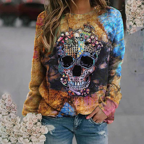 Skull Print Sweatshirts Woman Casual O Neck Gothic