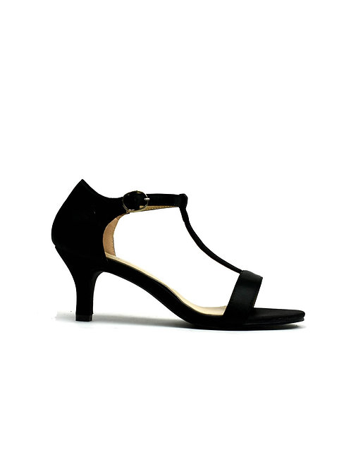 Open Toe Satin Sandal Black