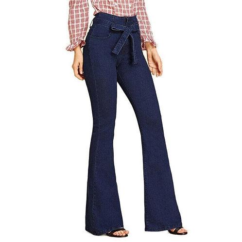 Navy Tie Waist Flare Jeans Woman Denim Trousers Vintage