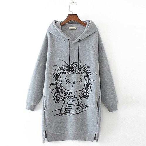 Sweatshirt Pullover Cartoon Print Long Sleeve Splited Pockets Sweatshirt