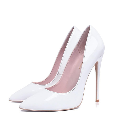 Women Pumps High Heels Shoes 10cm White Shoes for Wedding Lacquer