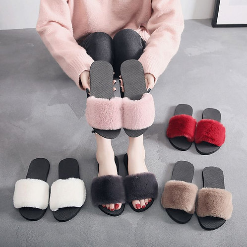 Limit 500 Women 36-40 Slippers Fluffy Faux Fur Plush Slippers