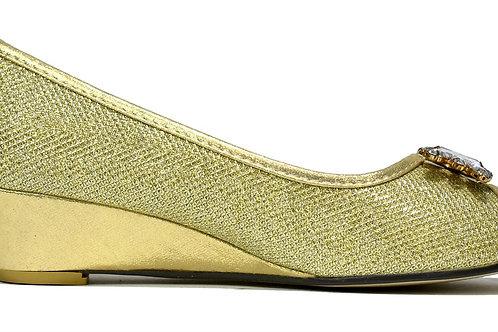 Silver Crystal Wedge Slip On Gold