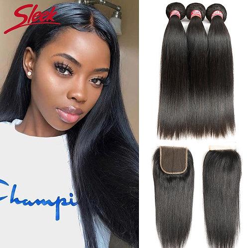 Sleek Brazilian Straight Hair Bundles With Closure Natural Color