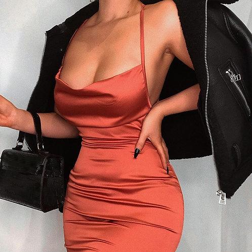 Neon Satin Lace Up Dress Women Long Midi Dress Bodycon