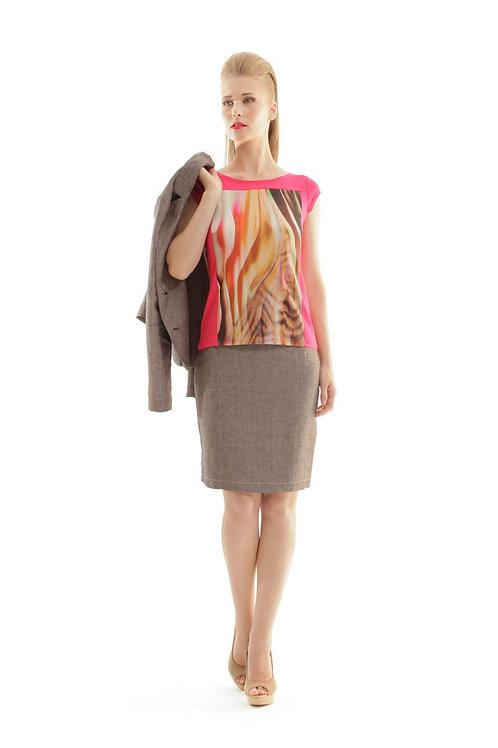 Straight Linen Skirt