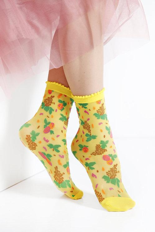 MICOL sheer yellow socks for women