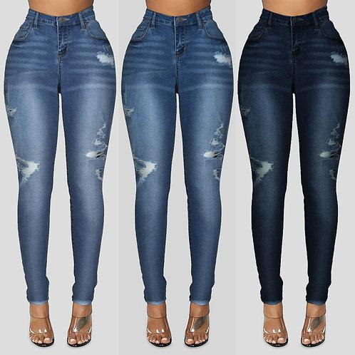 Women Ripped Plus Size Jeans Pants Skinny