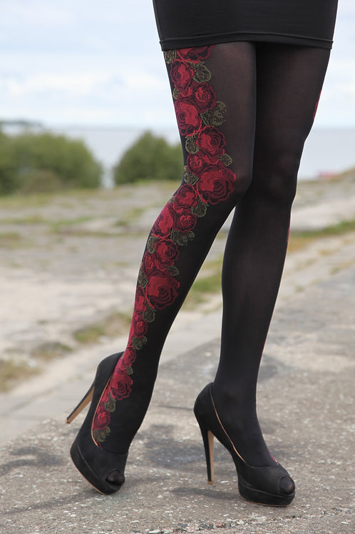 ISABELLA 60DEN black tights with floral pattern