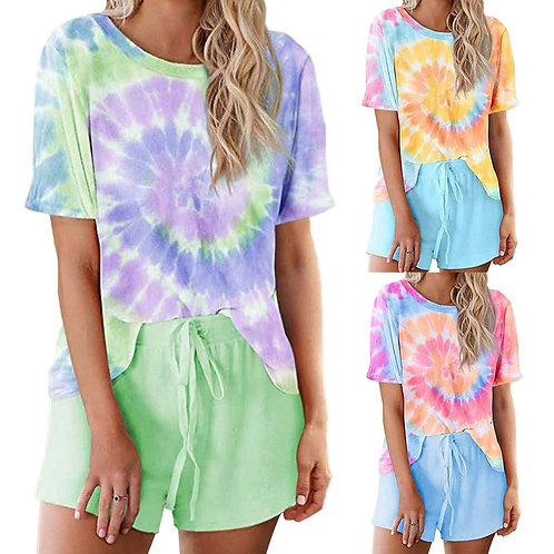 2020 New Arrival Tie-Dye Women Pajamas Sets Two Pieces