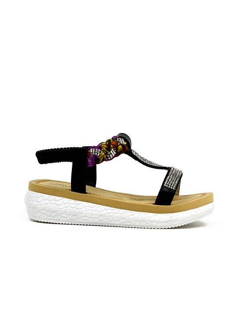 Girl's Colourful Open Toe Summer Sandal Black