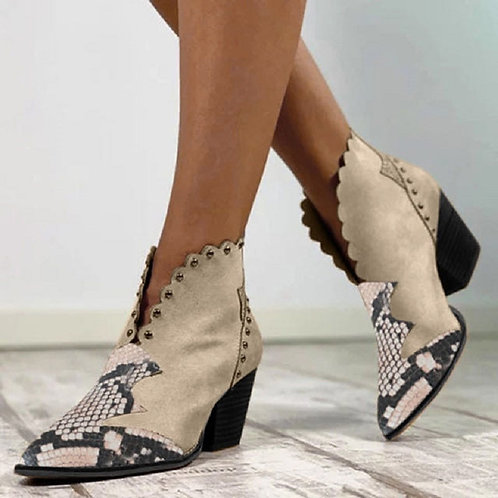 Women Retro Ankle Boots Slip on Pointed Toe Ladies Snake Print