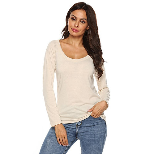 2020 Open Back Casual Tops Long Sleeve T Shirt Women Clothing