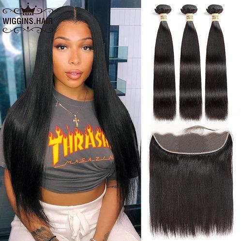 Wiggins Hair 3 Bundles Human Hair Bundles With Frontal Brazilian
