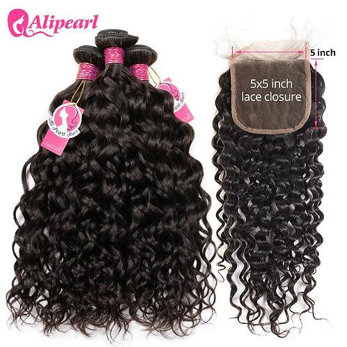 Alipearl Hair Water Wave Bundles With Closure Brazilian Hair