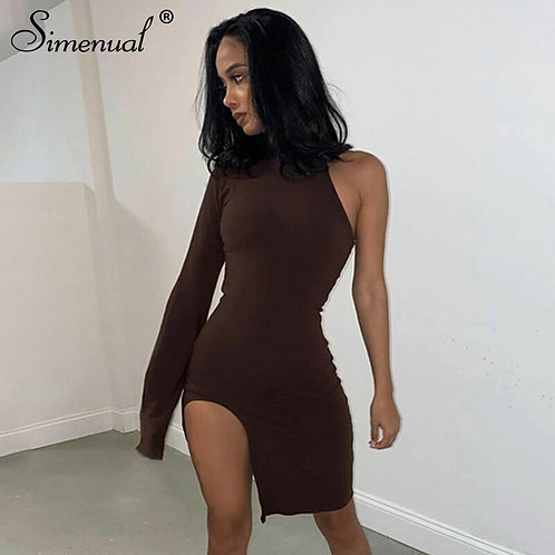 Women Bodycon Party Dresses Side Slit Autumn Fashion Sexy Skinny Clubwear