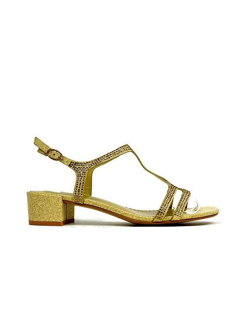 T-Bar Open Toe Evening Sandal Gold