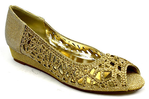 Indi Low Wedge Perforated Sandal Gold