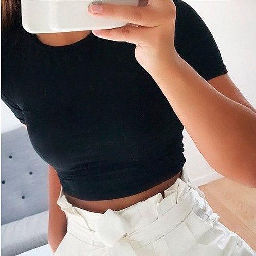2020 Women Summer Short Sleeve Slim Fitted Short Crop Top