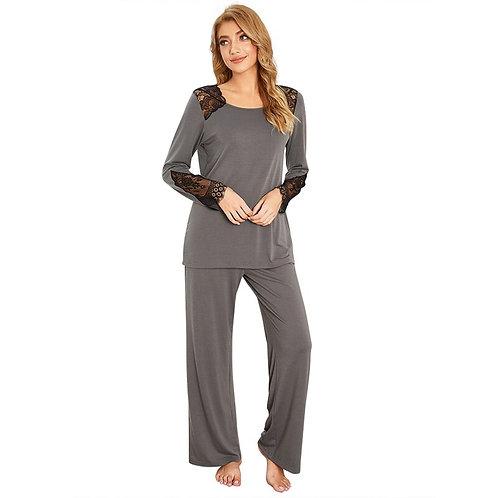Bobora Pajamas Set for Women Hot Sale Lace Round Neck
