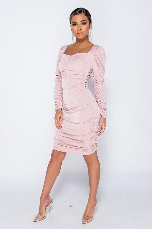 Slinky Fabric Sweetheart Neckline Long Sleeve Ruched Midi Dress